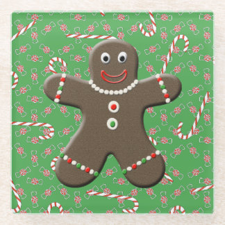 Happy Gingerbread Man Christmas Candy Glass Coaster