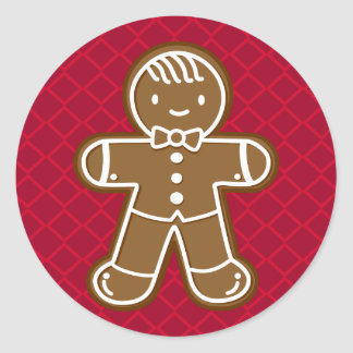 Happy Gingerbread Man with Bow Tie Cookie Classic Round Sticker