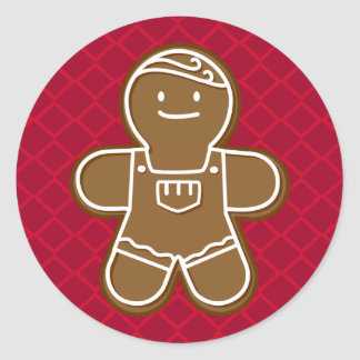 Happy Gingerbread Man with overalls Cookie Round Sticker