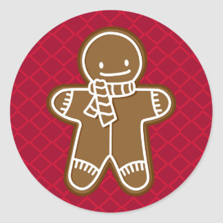 Happy Gingerbread Man with Scarf Cookie Sticker