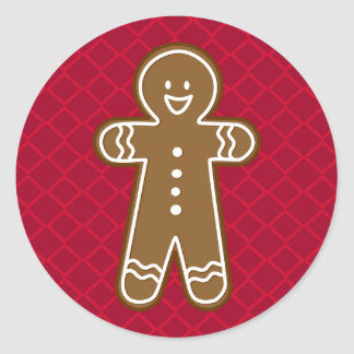 Happy Gingerbread Tall Man Cookie Round Sticker