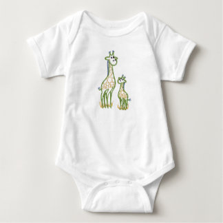 Happy Giraffe And Baby Baby Bodysuit