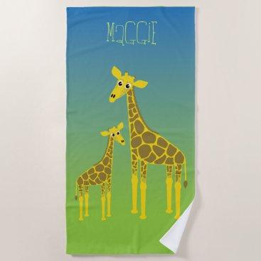Happy giraffe family beach towel