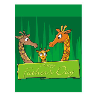 Happy Giraffe Family Father's Day Postcard