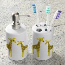 Happy giraffe herd soap dispenser & toothbrush holder