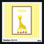"Happy Giraffe Wall Decal<br><div class=""desc"">A happy little cartoon giraffe on a yellow striped background.</div>"