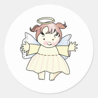 HAPPY GIRL ANGEL CLASSIC ROUND STICKER