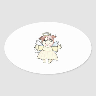 HAPPY GIRL ANGEL OVAL STICKER