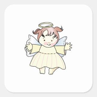 HAPPY GIRL ANGEL SQUARE STICKER