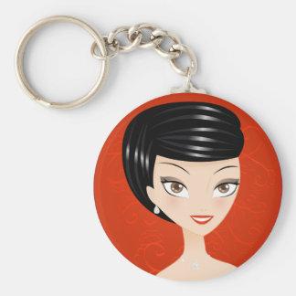 Happy Girl Basic Round Button Keychain