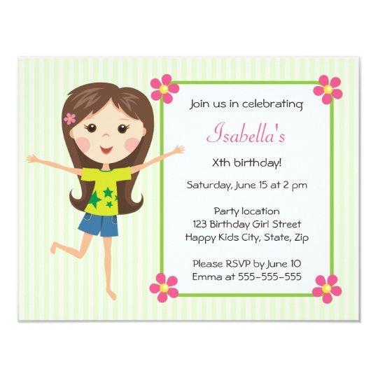 Happy Girl Cartoon Cute Girly Birthday Invitation