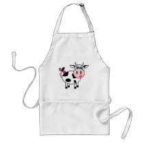 Happy Girl Cow Adult Apron