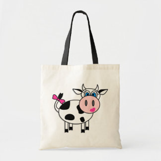 Happy Girl Cow Budget Tote Bag