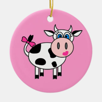 Happy Girl Cow Ceramic Ornament