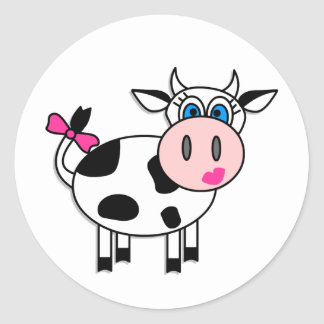 Happy Girl Cow Classic Round Sticker