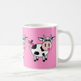 Happy Girl Cow Classic White Coffee Mug