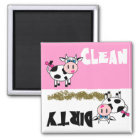 Happy Girl Cow Clean / Dirty Dishwasher Magnet