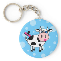 Happy Girl Cow Keychain