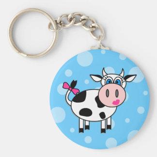 Happy Girl Cow Basic Round Button Keychain