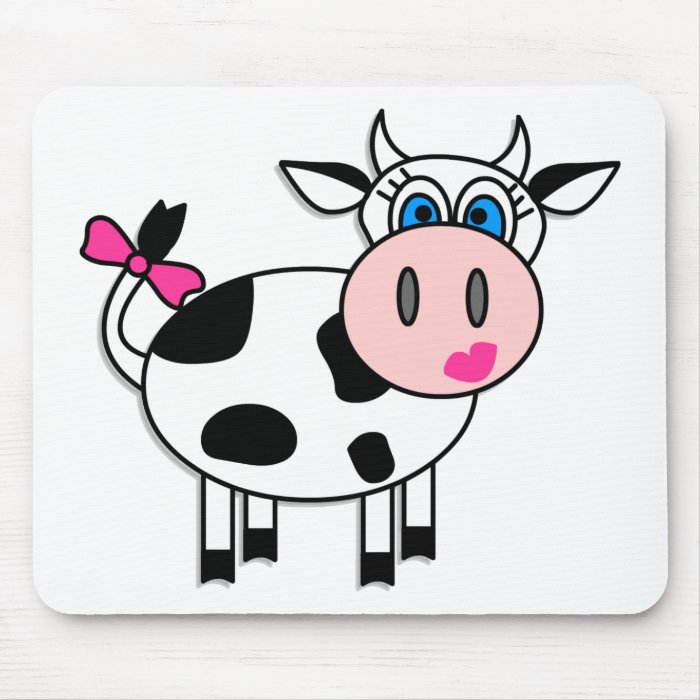 Happy Girl Cow Mouse Pad