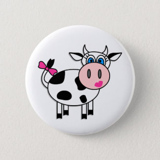 Happy Girl Cow Pinback Button
