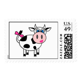 Happy Girl Cow Postage Stamp