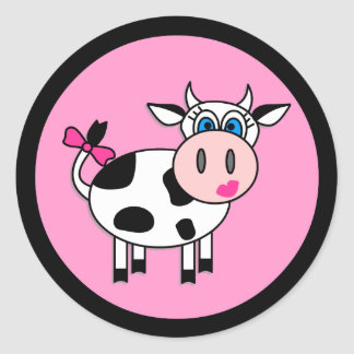 Happy Girl Cow Stickers