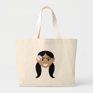 Happy Girl Face Canvas Bag