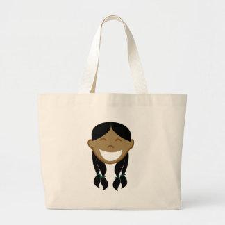 Happy Girl Face Jumbo Tote Bag