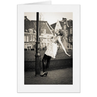 Happy girl in Amsterdam Card