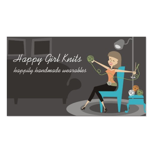 Happy girl knitting gift tags business cards
