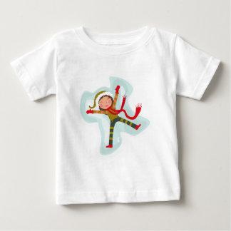 Happy Girl Making Snow Angel Xmas Winter Baby T-Shirt