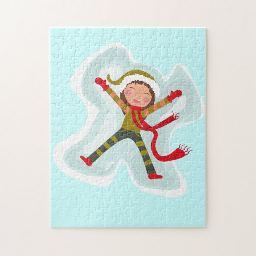 Happy Girl Making Snow Angel Xmas Winter Puzzles