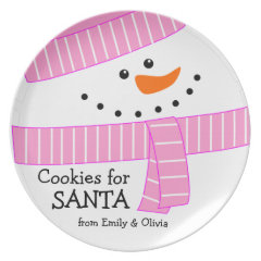 Happy Girl Snowman Cookies for Santa Plate