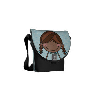 Happy Girl with Braids Messenger Bag