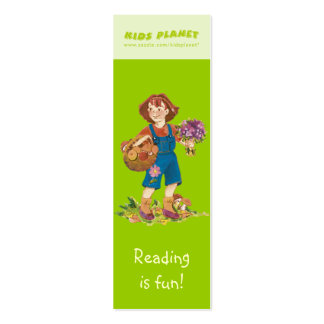 Happy Girl with flowers & mushrooms bookmark! Mini Business Card