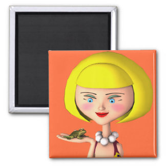 Happy Girl With Frog Prince 2 Inch Square Magnet