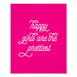 Happy Girls Inspirational Quote | Art Print