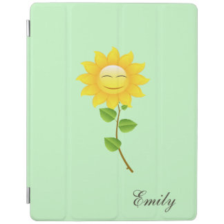 Happy girly cute sunflower monogram iPad cover