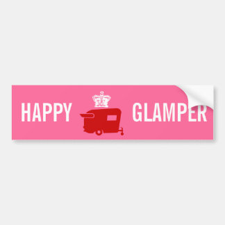 Happy Glamper - RV - Travel Trailer Humor Car Bumper Sticker