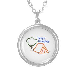 happy glamping applique round pendant necklace