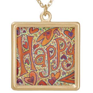 Happy Glitter Word Pendant Necklace Art Charm