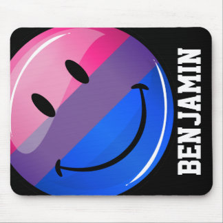 Happy Glossy Bisexuality Pride Flag Mouse Pad
