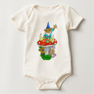 Happy Gnome on a toadstool. Baby Bodysuit