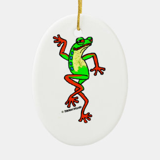 Happy-Go-Lucky Dancing Tree Frog Ceramic Ornament