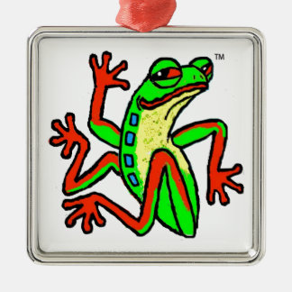 Happy-Go-Lucky Dancing Tree Frog Metal Ornament