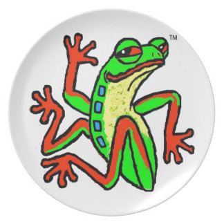 Happy-Go-Lucky Dancing Tree Frog Party Plates