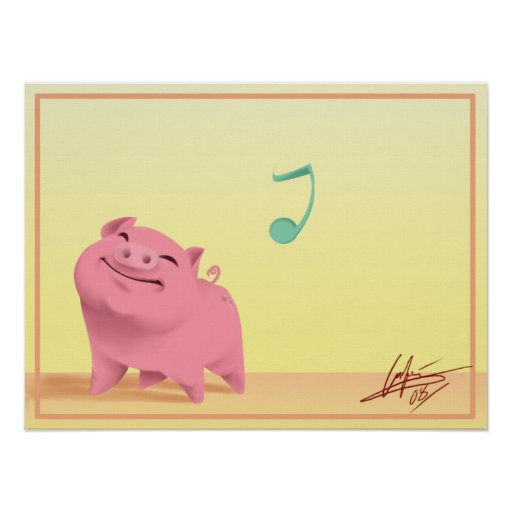 Happy go lucky piggy! poster