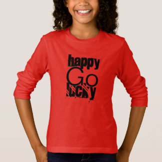 Happy-Go-Lucky Quote Typography T-Shirt