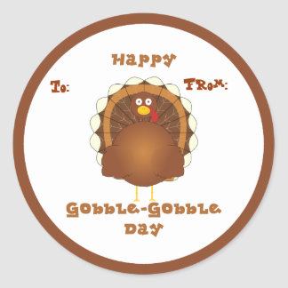 Happy Gobble-Gobble day Classic Round Sticker